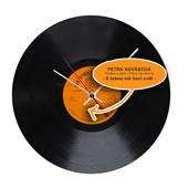 Retro hodiny gramofonová deska s originální etiketou a vzkazem