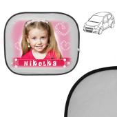 Stínítka do oken auta sfotkou a jménem